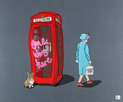 Queen One Was Here by Dylan Izaak - Original Painting on Aluminium sized 24x20 inches. Available from Whitewall Galleries